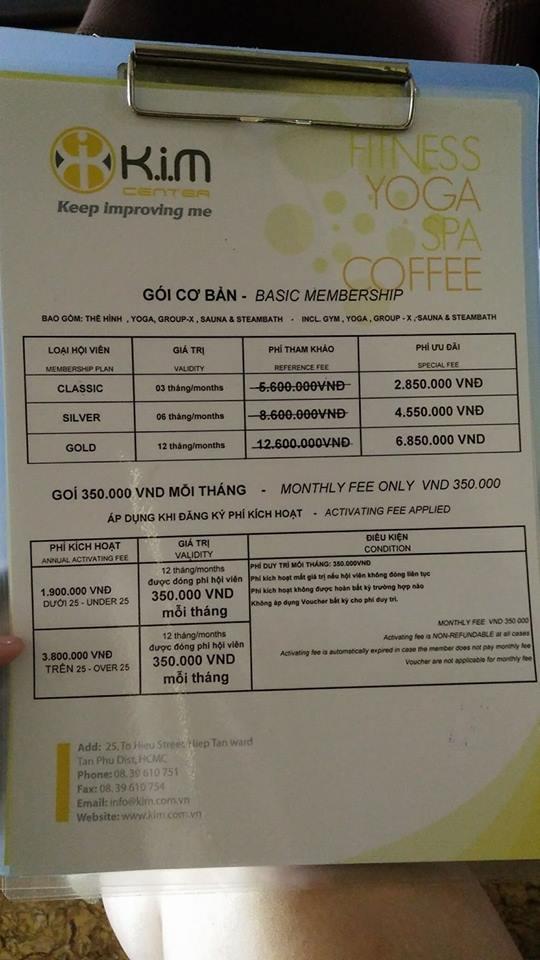 Bảng giá phòng tập Kim Center