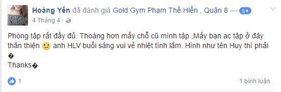 Đánh giá phòng tập Gold Gym, Phạm Thế Hiển