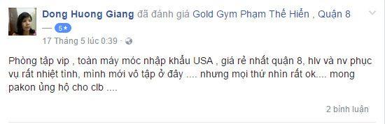 NĐánh giá phòng tập Gold Gym, Phạm Thế Hiển