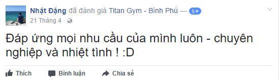 Đánh giá phòng tập Titan Gym Bình Phú