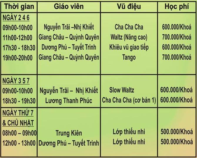 Bảng giá Phòng tập nhảy SagaDance Thành Thái, Quận 10